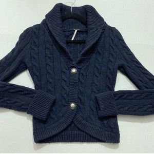 Free People Navy Blue Cable Knit Cardigan